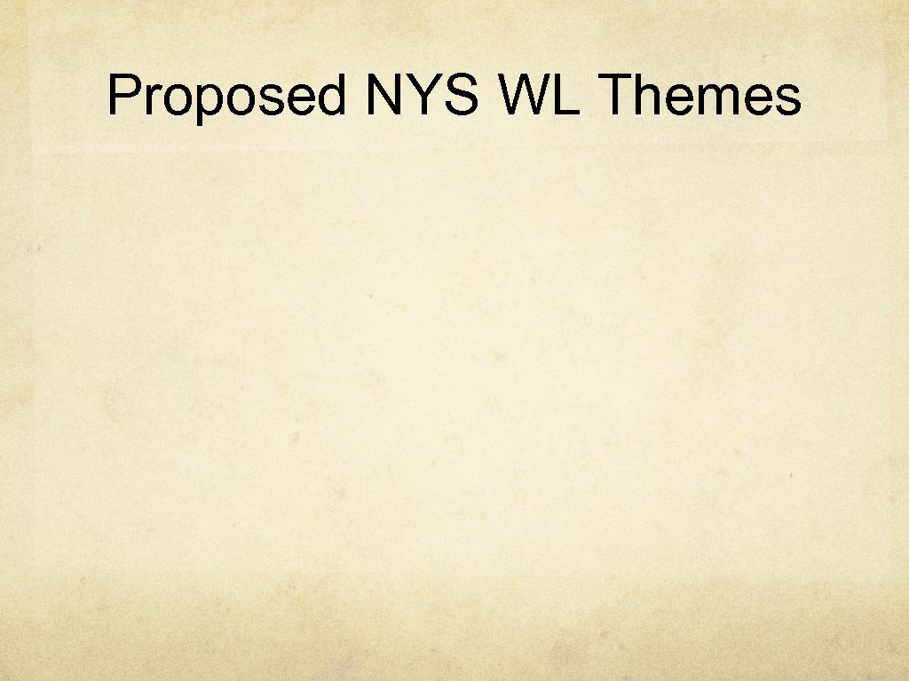 Proposed NYS WL Themes