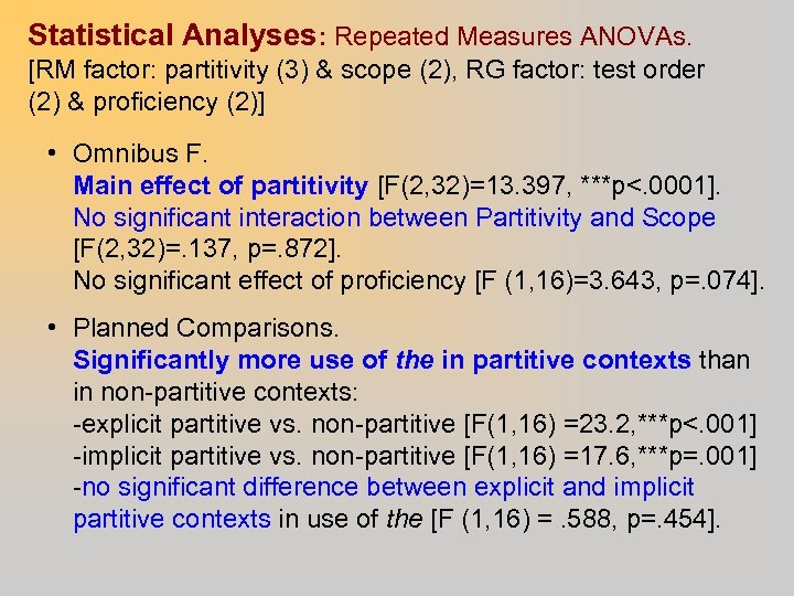 Statistical Analyses: Repeated Measures ANOVAs. [RM factor: partitivity (3) & scope (2), RG factor:
