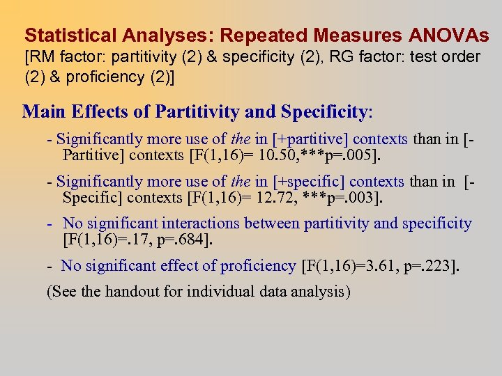 Statistical Analyses: Repeated Measures ANOVAs [RM factor: partitivity (2) & specificity (2), RG factor: