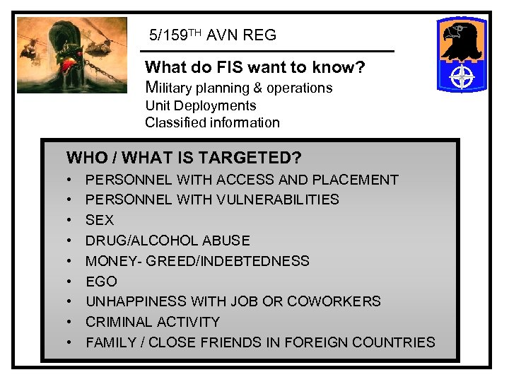 5/159 TH AVN REG What do FIS want to know? Military planning & operations