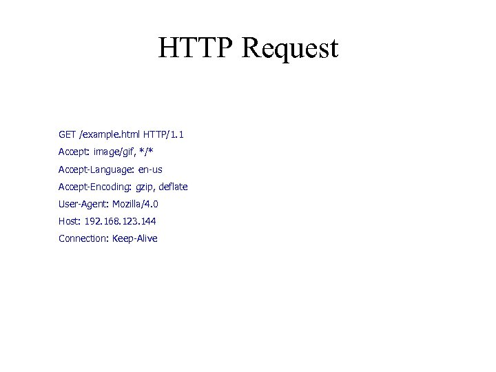HTTP Request GET /example. html HTTP/1. 1 Accept: image/gif, */* Accept-Language: en-us Accept-Encoding: gzip,
