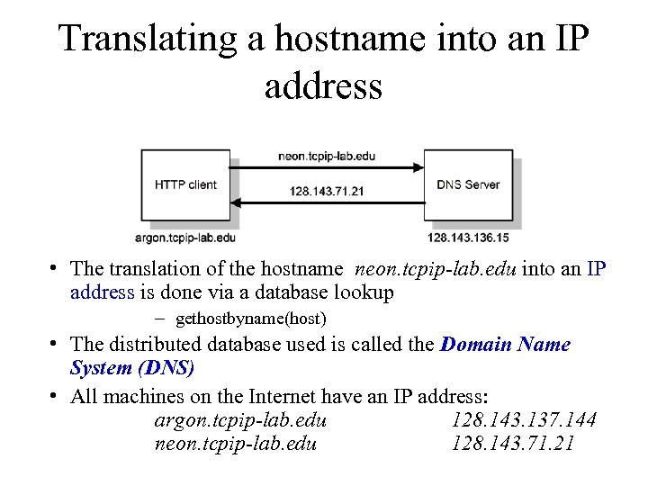 Translating a hostname into an IP address • The translation of the hostname neon.