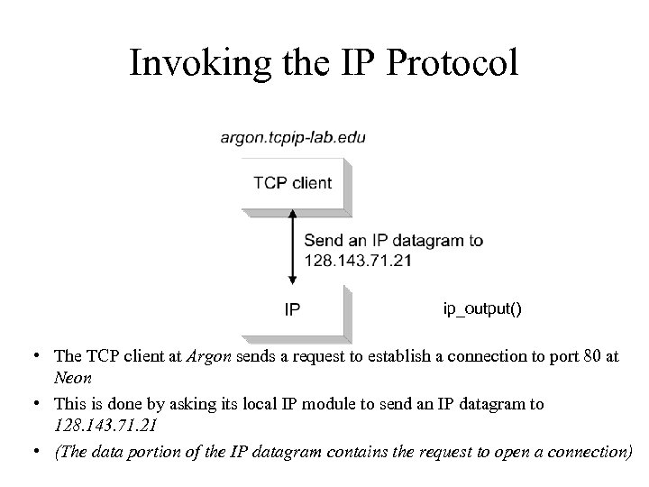 Invoking the IP Protocol ip_output() • The TCP client at Argon sends a request