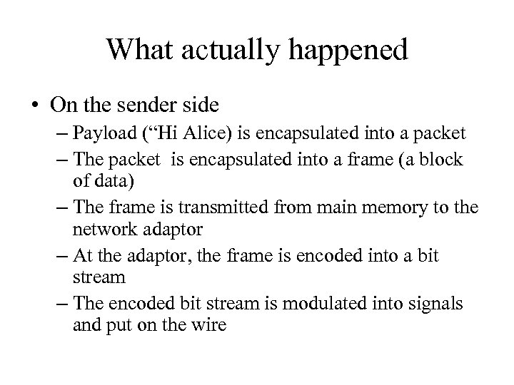 "What actually happened • On the sender side – Payload (""Hi Alice) is encapsulated"