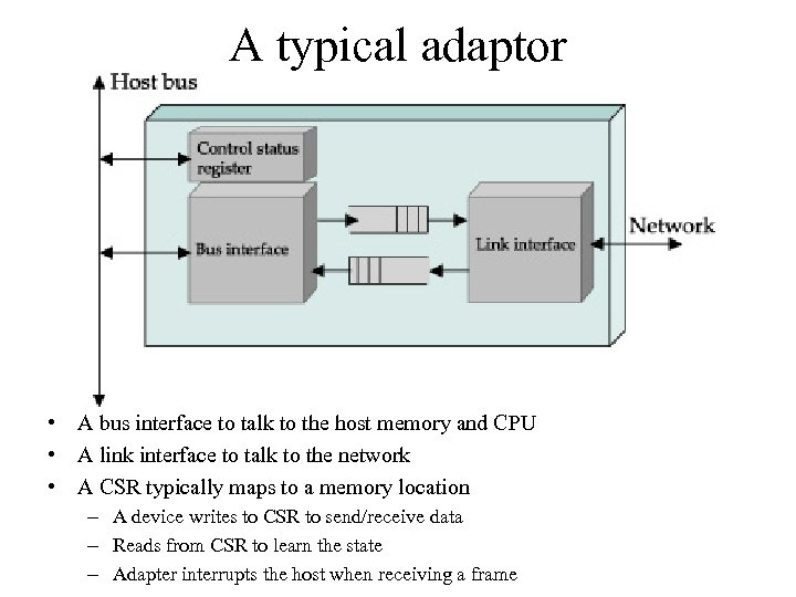 A typical adaptor • A bus interface to talk to the host memory and