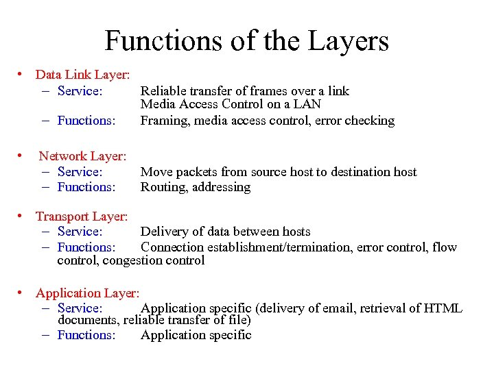 Functions of the Layers • Data Link Layer: – Service: Reliable transfer of frames
