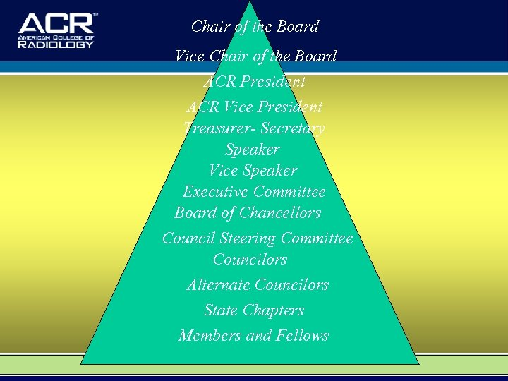 Chair of the Board Vice Chair of the Board ACR President ACR Vice President