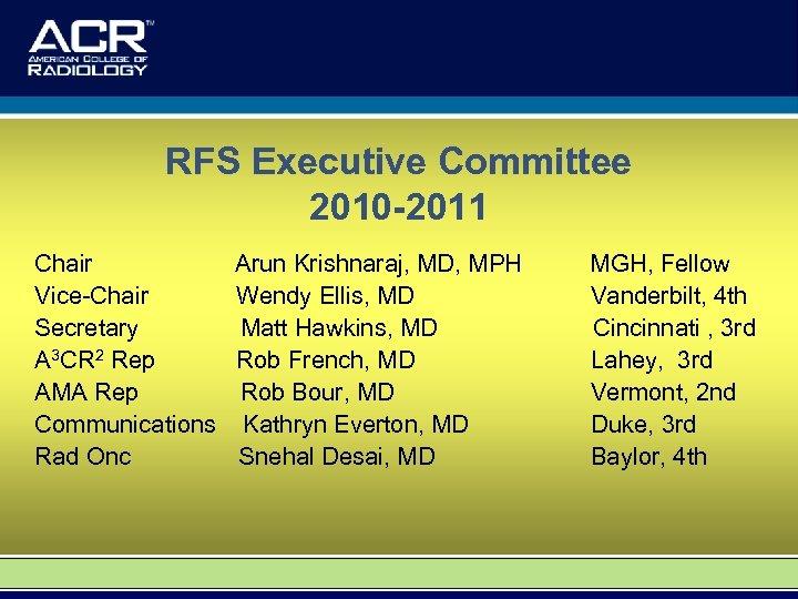 RFS Executive Committee 2010 -2011 Chair Vice-Chair Secretary A 3 CR 2 Rep AMA