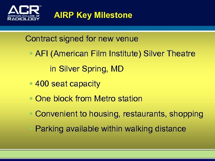 AIRP Key Milestone Contract signed for new venue § AFI (American Film Institute) Silver
