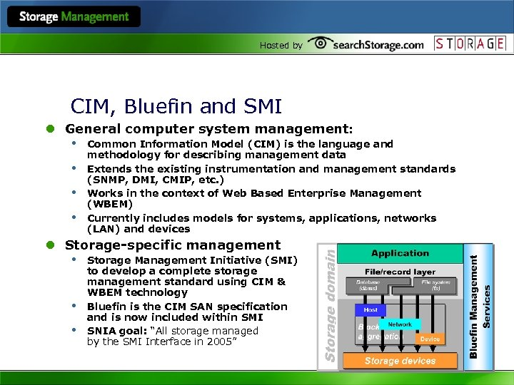 Hosted by CIM, Bluefin and SMI l General computer system management: • Common Information
