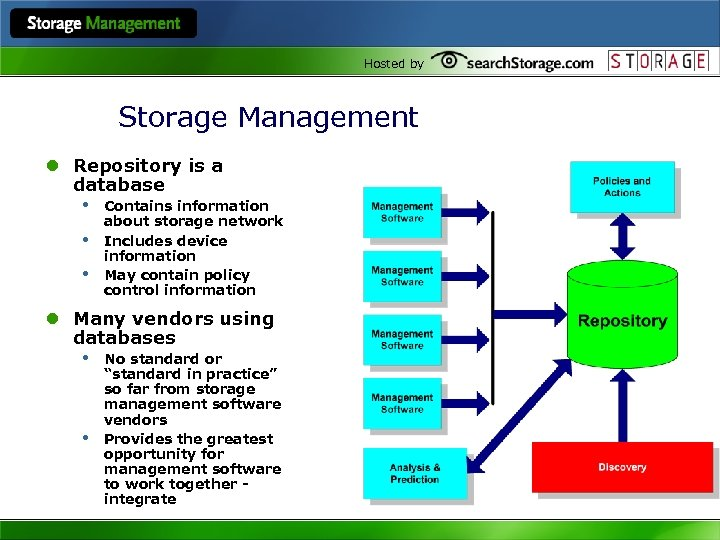 Hosted by Storage Management l Repository is a database • Contains information • •