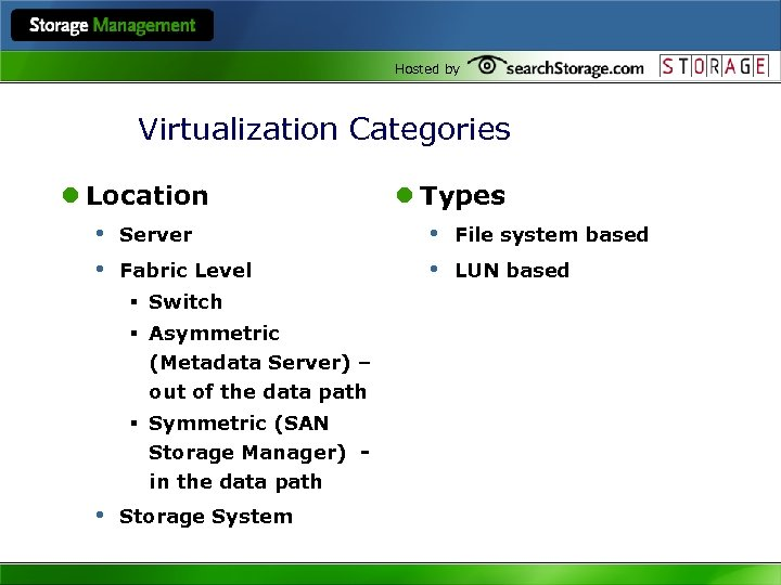 Hosted by Virtualization Categories l Location • Server • Fabric Level § Switch §