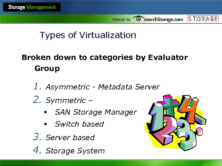 Hosted by Types of Virtualization Broken down to categories by Evaluator Group 1. 2.
