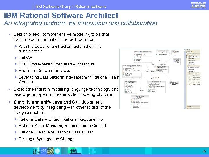IBM Software Group   Rational software IBM Rational Software Architect An integrated platform for