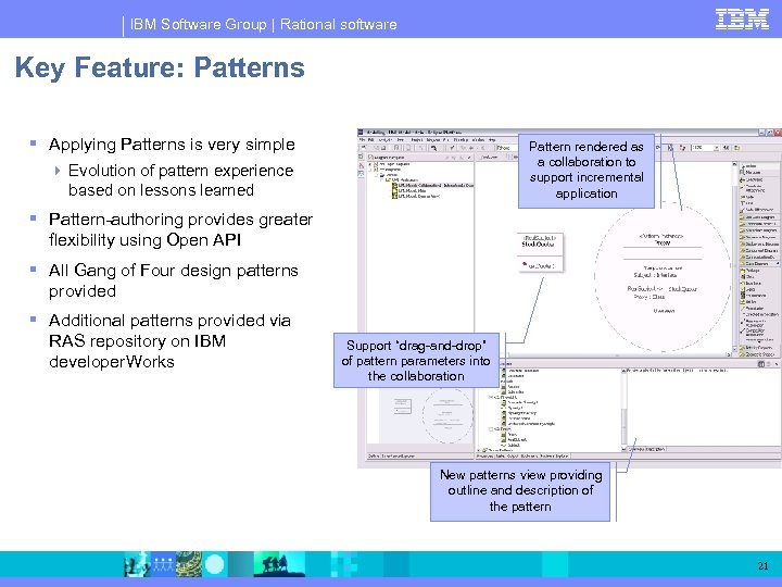 IBM Software Group | Rational software Key Feature: Patterns Applying Patterns is very simple