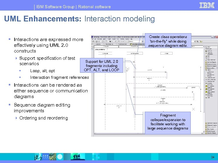 "IBM Software Group | Rational software UML Enhancements: Interaction modeling Create class operations ""on-the-fly"""