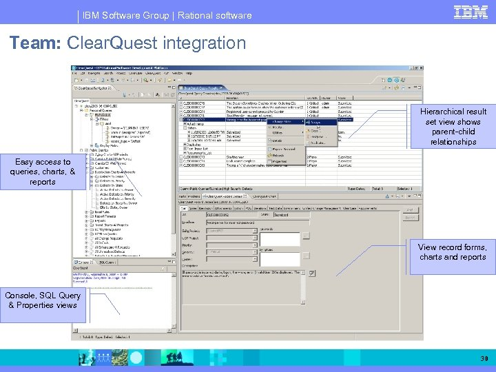 IBM Software Group | Rational software Team: Clear. Quest integration Hierarchical result set view