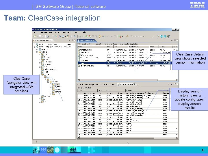 IBM Software Group | Rational software Team: Clear. Case integration Clear. Case Details view