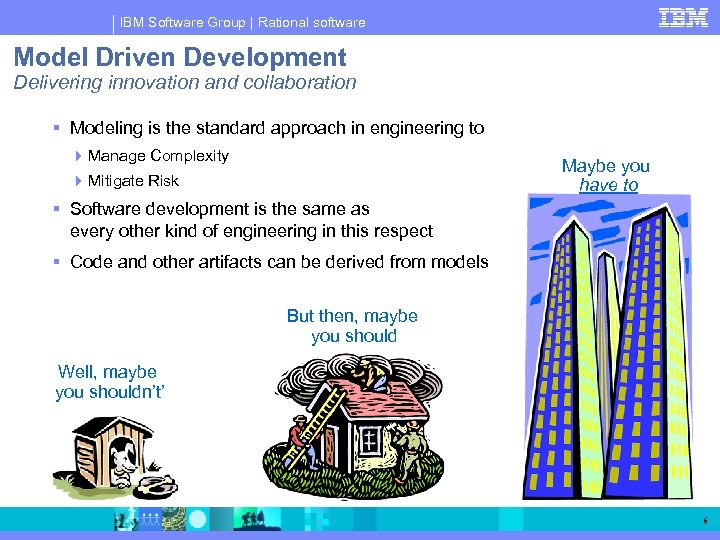 IBM Software Group   Rational software Model Driven Development Delivering innovation and collaboration Modeling
