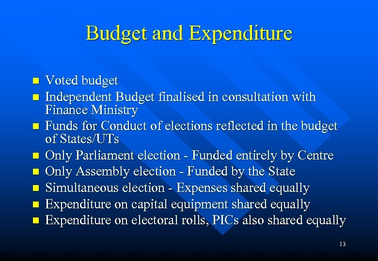 Budget and Expenditure n n n n Voted budget Independent Budget finalised in consultation