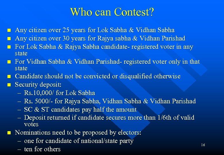 Who can Contest? n n n n Any citizen over 25 years for Lok