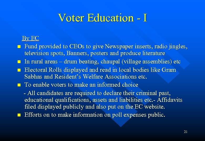 Voter Education - I By EC n Fund provided to CEOs to give Newspaper
