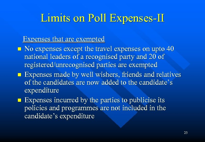 Limits on Poll Expenses-II Expenses that are exempted n No expenses except the travel
