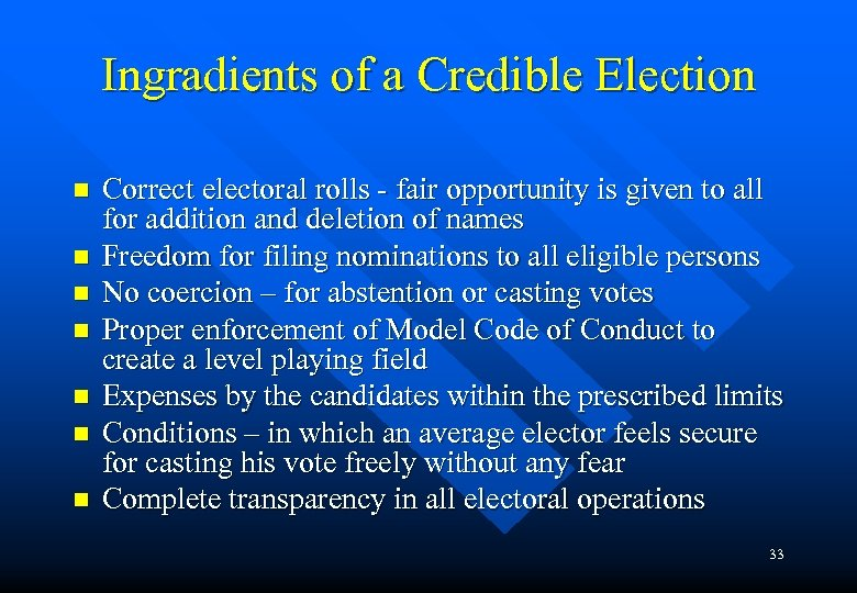 Ingradients of a Credible Election n n n Correct electoral rolls - fair opportunity
