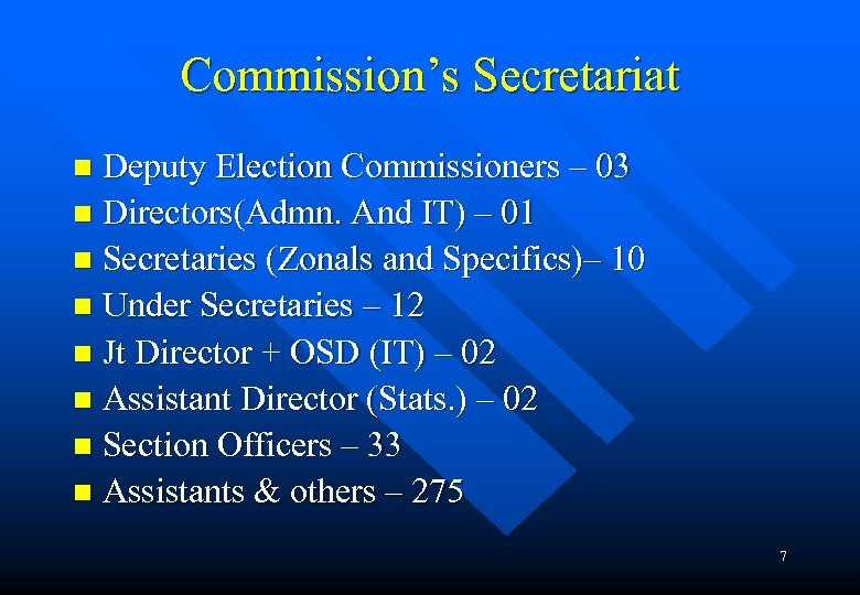 Commission's Secretariat Deputy Election Commissioners – 03 n Directors(Admn. And IT) – 01 n