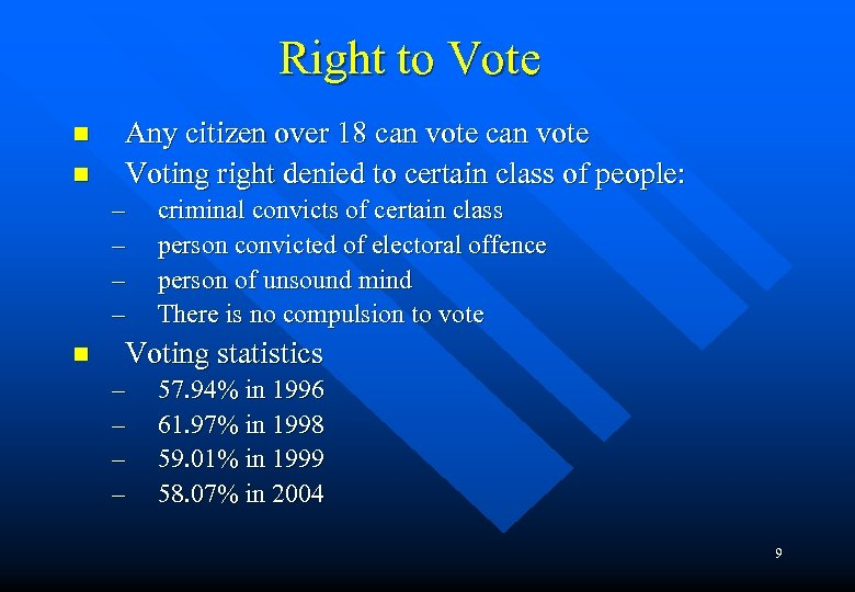 Right to Vote n n Any citizen over 18 can vote Voting right denied