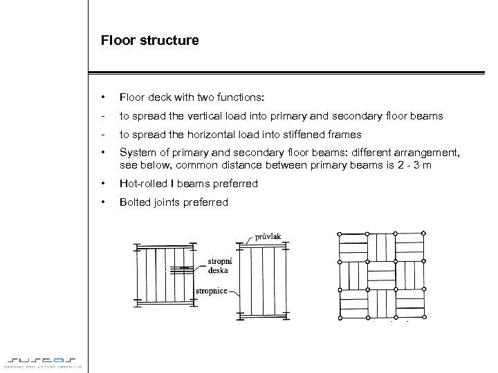 Floor structure • Floor deck with two functions: - to spread the vertical load