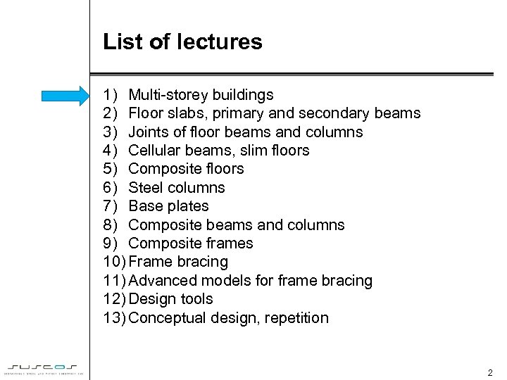 List of lectures 1) Multi-storey buildings 2) Floor slabs, primary and secondary beams 3)