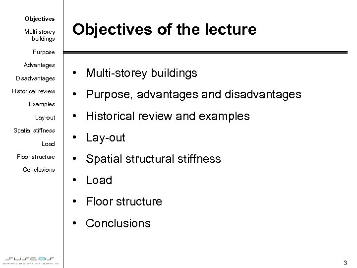 Objectives Multi-storey buildings Objectives of the lecture Purpose Advantages Disadvantages Historical review • Multi-storey