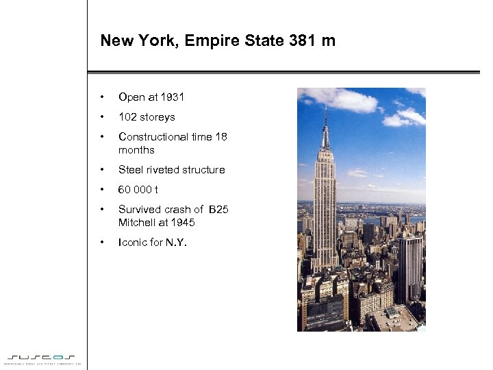 New York, Empire State 381 m • Open at 1931 • 102 storeys •