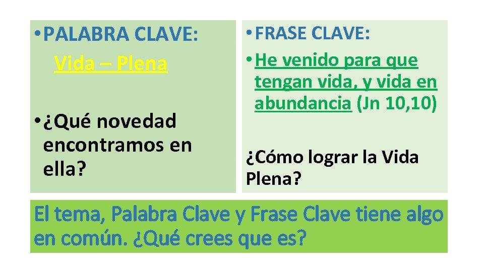 • PALABRA CLAVE: Vida – Plena • ¿Qué novedad encontramos en ella? •