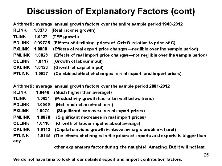 Discussion of Explanatory Factors (cont) Arithmetic average annual growth factors over the entire sample