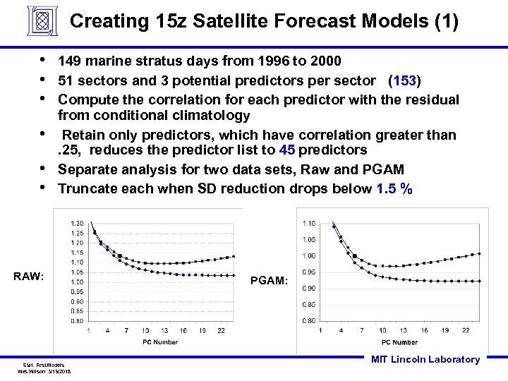 Creating 15 z Satellite Forecast Models (1) • • • 149 marine stratus days