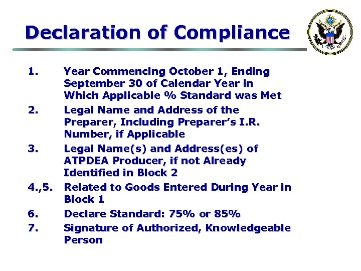 Declaration of Compliance 1. 2. 3. 4. , 5. 6. 7. Year Commencing October