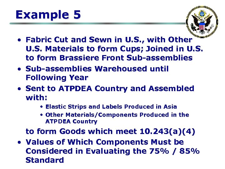 Example 5 • Fabric Cut and Sewn in U. S. , with Other U.