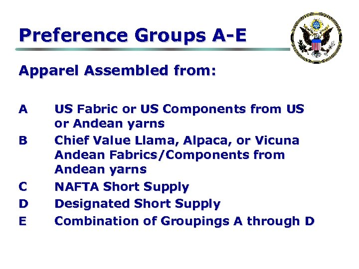 Preference Groups A-E Apparel Assembled from: A B C D E US Fabric or