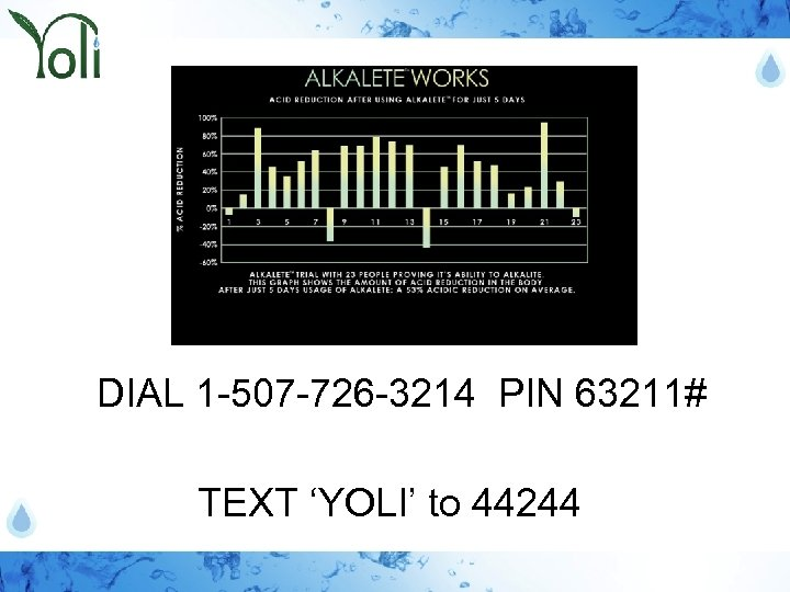 DIAL 1 -507 -726 -3214 PIN 63211# TEXT 'YOLI' to 44244