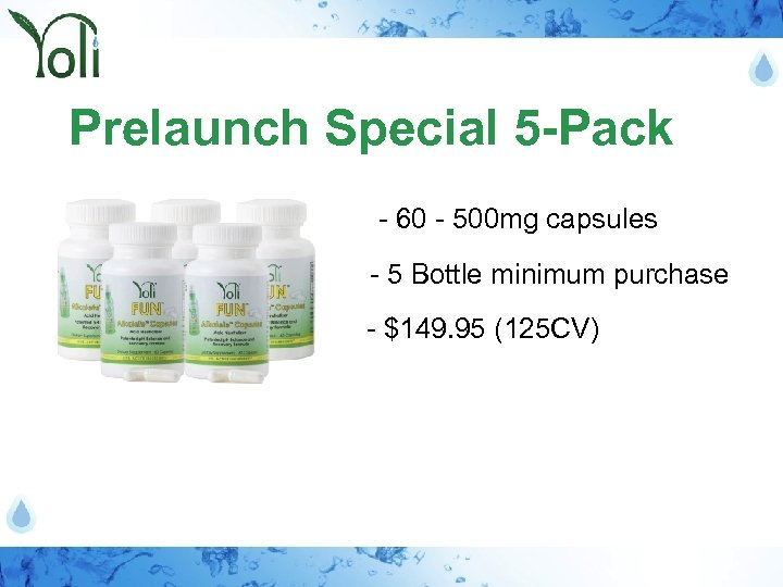 Prelaunch Special 5 -Pack - 60 - 500 mg capsules - 5 Bottle minimum