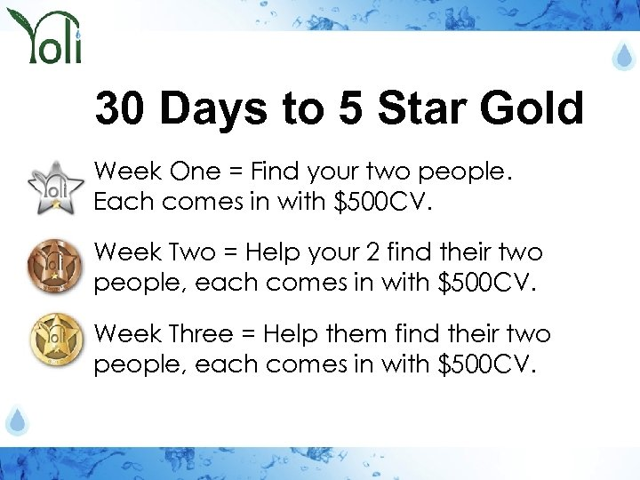 30 Days to 5 Star Gold Week One = Find your two people. Each