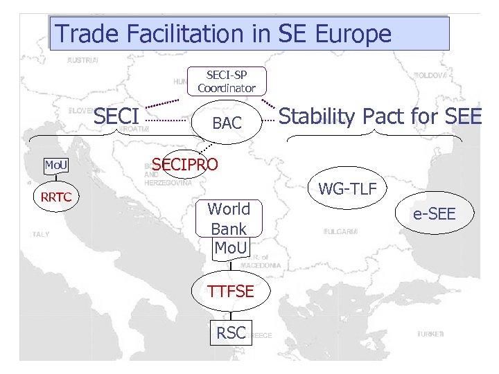 Trade Facilitation in SE Europe SECI-SP Coordinator SECI Mo. U RRTC BAC Stability Pact
