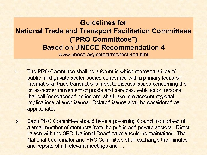 Guidelines for National Trade and Transport Facilitation Committees (