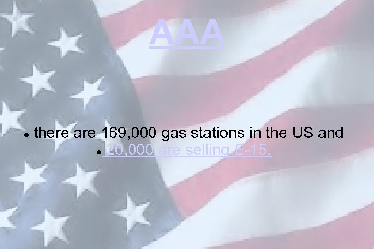 AAA there are 169, 000 gas stations in the US and 20, 000 are