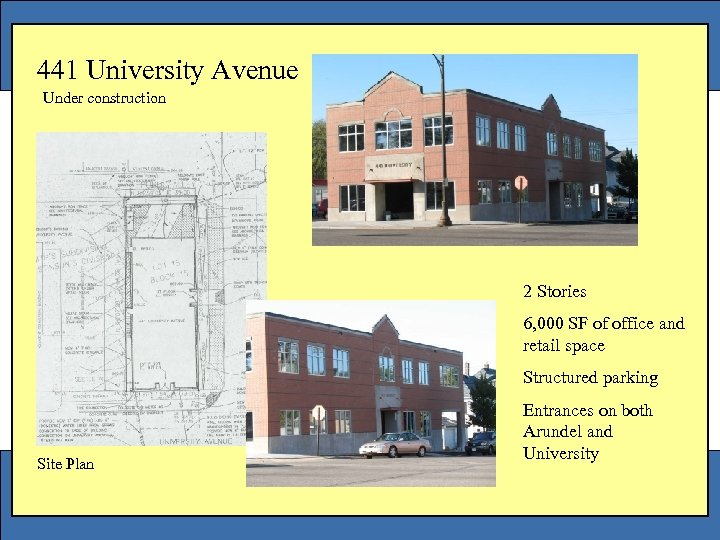 441 University Avenue Under construction 2 Stories 6, 000 SF of office and retail