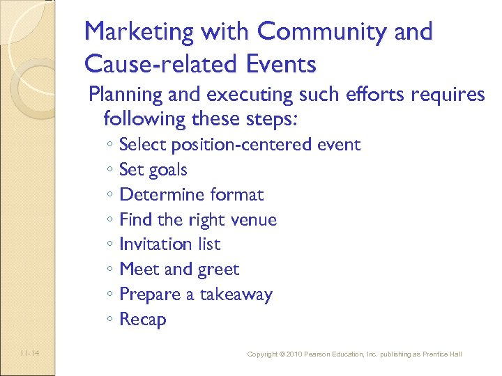 Marketing with Community and Cause-related Events Planning and executing such efforts requires following these