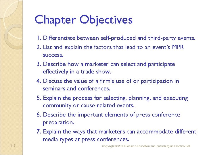 Chapter Objectives 1. Differentiate between self-produced and third-party events. 2. List and explain the