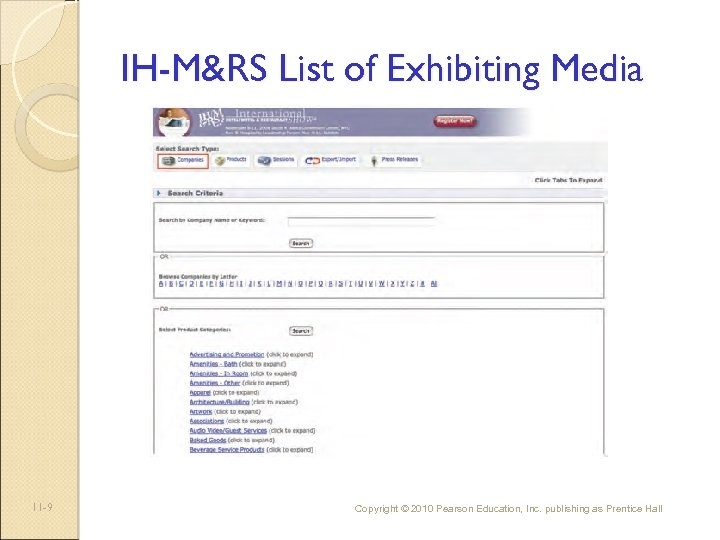 IH-M&RS List of Exhibiting Media 11 -9 Copyright © 2010 Pearson Education, Inc. publishing